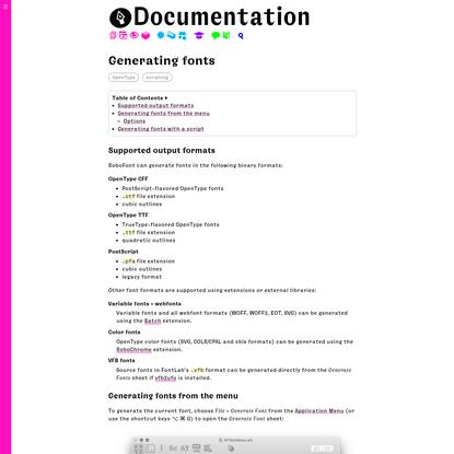 Generating fonts