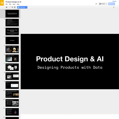 Product Design w/ AI