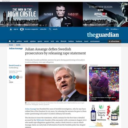 Julian Assange defies Swedish prosecutors by releasing rape statement