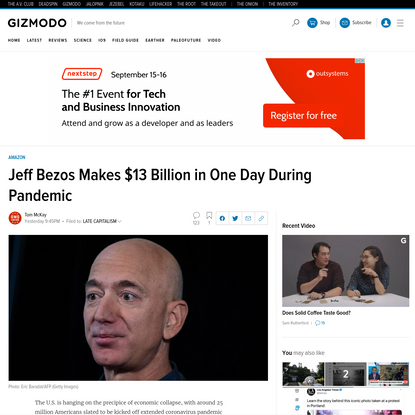 Jeff Bezos Makes $13 Billion in One Day During Pandemic