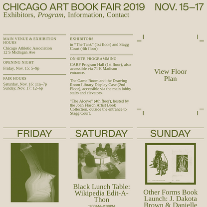 Chicago Art Book Fair 2019 - Program