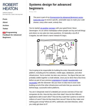 Systems design for advanced beginners | Robert Heaton