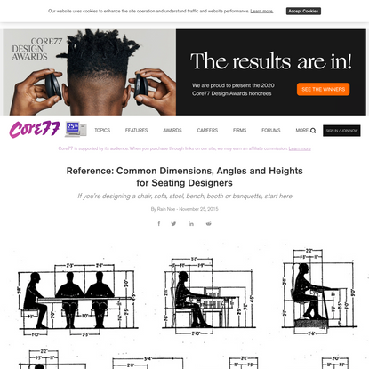 Reference: Common Dimensions, Angles and Heights for Seating Designers - Core77