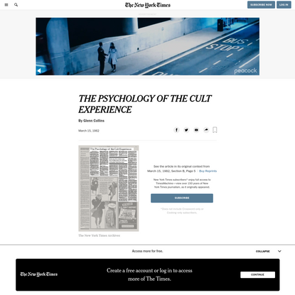 THE PSYCHOLOGY OF THE CULT EXPERIENCE