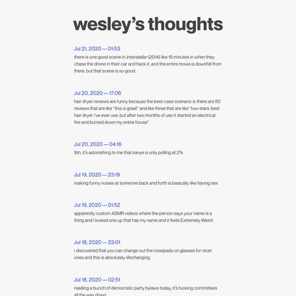 wesley's thoughts