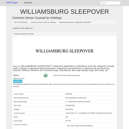 WILLIAMSBURG SLEEPOVER - Common Sense Counsel Ip Holdings Trademark Registration