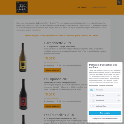 LA BOUTIQUE - Les vins bio du Domaine Pierre Chauvin