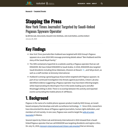 Stopping the Press: New York Times Journalist Targeted by Saudi-linked Pegasus Spyware Operator - The Citizen Lab
