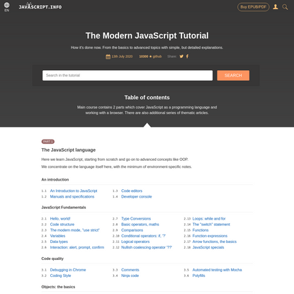 The Modern JavaScript Tutorial