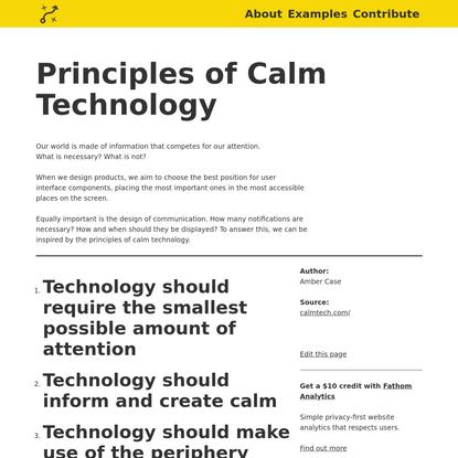 Principles of Calm Technology