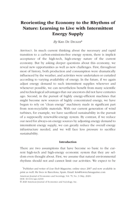 Reorienting the Economy to the Rhythms of Nature: Learning to Live with Intermittent Energy Supply - Kris De Decker