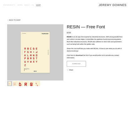 RESIN - Free Font - Jeremy Downes