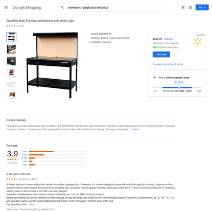 workbench pegboard electrical - Google Shopping