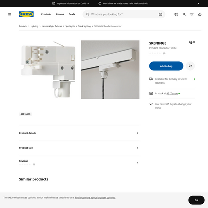 SKENINGE Pendant connector, white - IKEA