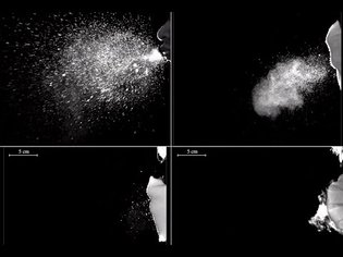 High speed camera captures how different types of face masks work