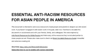 Anti-Racism Resources for Asians