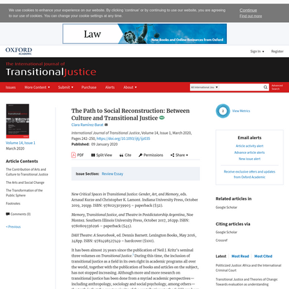 Path to Social Reconstruction: Between Culture and Transitional Justice