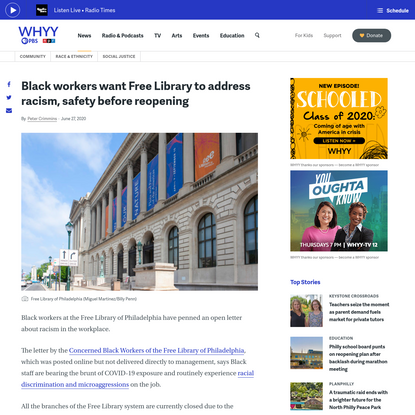 Black workers want Free Library to address racism, safety before reopening