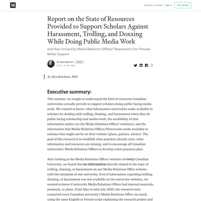 Report on the State of Resources Provided to Support Scholars Against Harassment, Trolling, and...