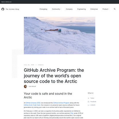 GitHub Archive Program: the journey of the world's open source code to the Arctic