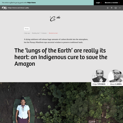 The 'lungs of the Earth' are really its heart: an Indigenous cure to save the Amazon