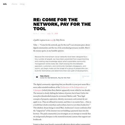 Re: Come for the network, pay for the tool