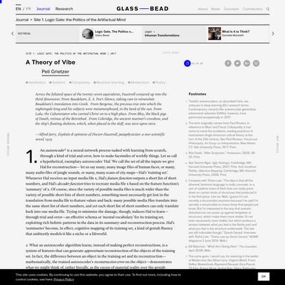 Week 2: Encoding Aesthetics — Theory of Vibe, by Peli Grietzer - Glass Bead