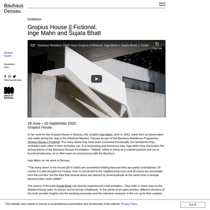 Gropius House || Fictional. Inge Mahn and Sujata Bhatt