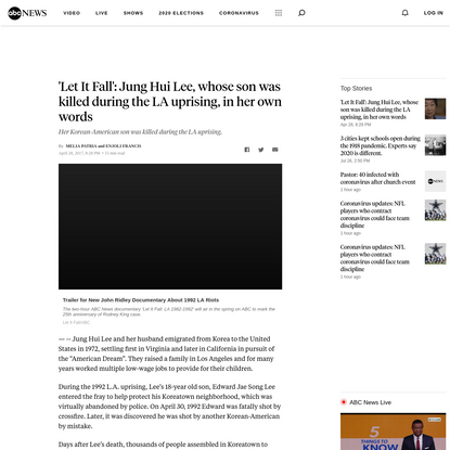 'Let It Fall': Jung Hui Lee, whose son was killed during the LA uprising, in her own words