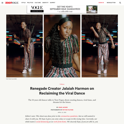 Renegade Creator Jalaiah Harmon Is Taking Back the Dance the Internet Took From Her