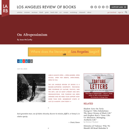On Afropessimism - Los Angeles Review of Books