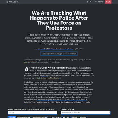 We Are Tracking What Happens to Police After They Use Force on Protestors