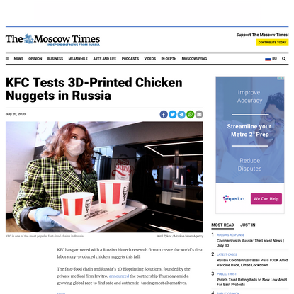KFC Tests 3D-Printed Chicken Nuggets in Russia - The Moscow Times