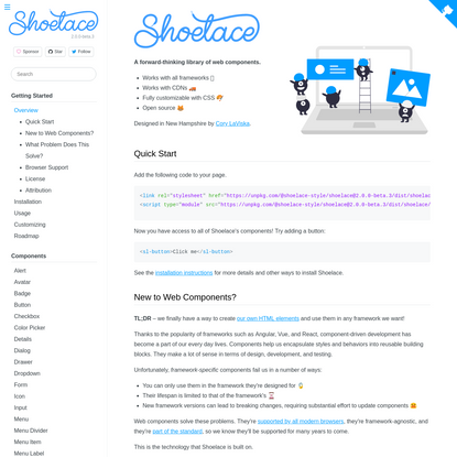 Overview - Shoelace: A forward-thinking library of web components.