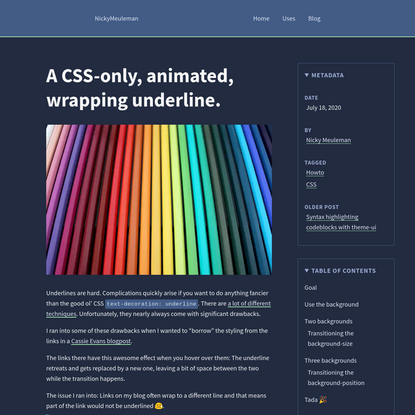 A CSS-only, animated, wrapping underline.