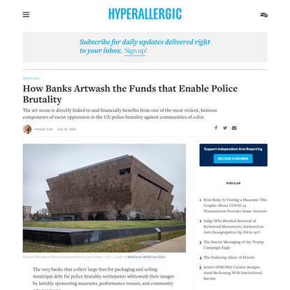How Banks Artwash the Funds that Enable Police Brutality