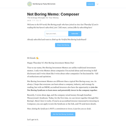 Not Boring Memo: Composer - Not Boring by Packy McCormick