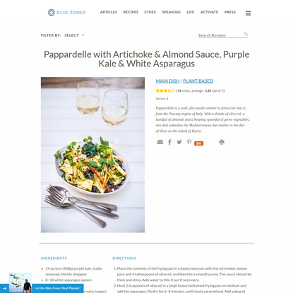 Pappardelle with Artichoke & Almond Sauce - Blue Zones