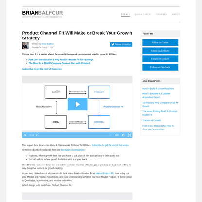 Product Channel Fit Will Make or Break Your Growth Strategy - Brian Balfour