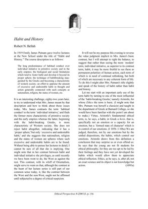Habit and History - Robert Bellah