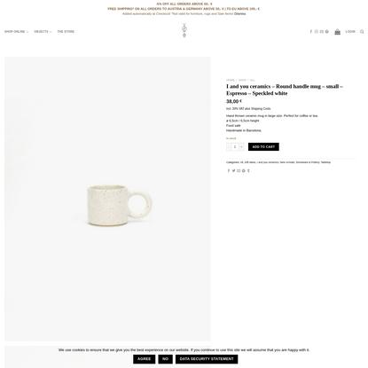 I and you ceramics - Round handle mug - small - Espresso - Speckled white