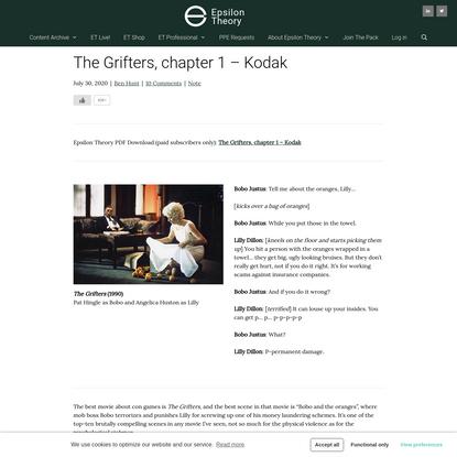 The Grifters, chapter 1 - Kodak | Epsilon Theory