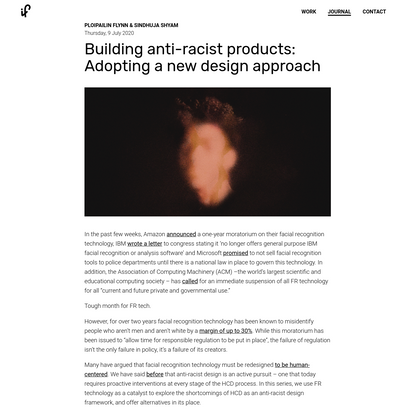 Building anti-racist products: Adopting a new design approach by Ploipailin Flynn & Sindhuja Shyam