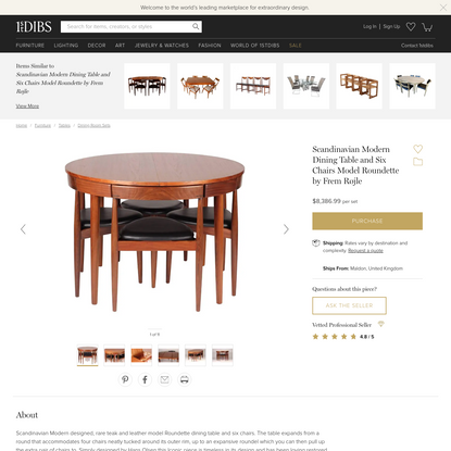 Scandinavian Modern Dining Table and Six Chairs Model Roundette by Frem Røjle