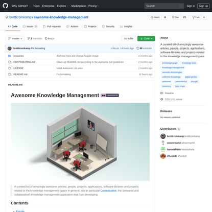 brettkromkamp/awesome-knowledge-management: A curated list of amazingly awesome articles, people, projects, applications, software libraries and projects related to the knowledge management space