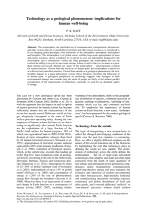Technology as a geological phenomenon: implications for human well-being; Haff 2013