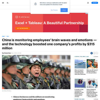 China is monitoring employees' brain waves and emotions - and the technology boosted one company's profits by $315 million