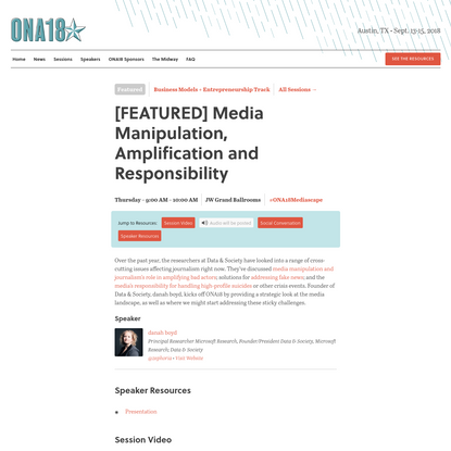 [FEATURED] Media Manipulation, Amplification and Responsibility - ONA18