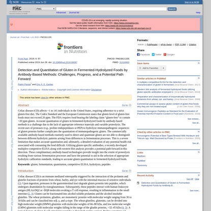 Detection and Quantitation of Gluten in Fermented-Hydrolyzed Foods by Antibody-Based Methods: Challenges, Progress, and a Po...
