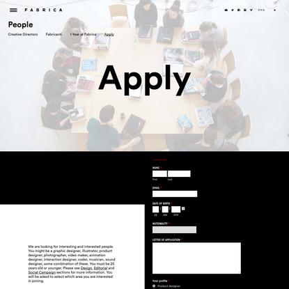 Apply - Fabrica